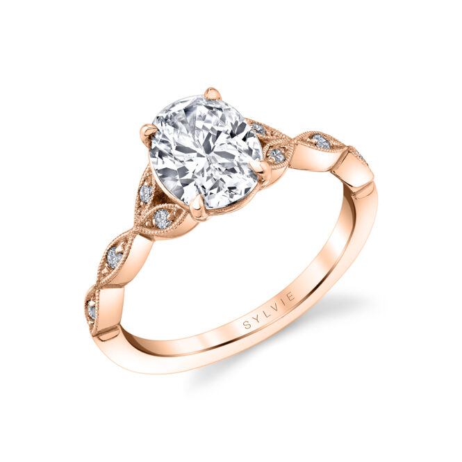 unique vintage inspired oval engagement ring in rose gold