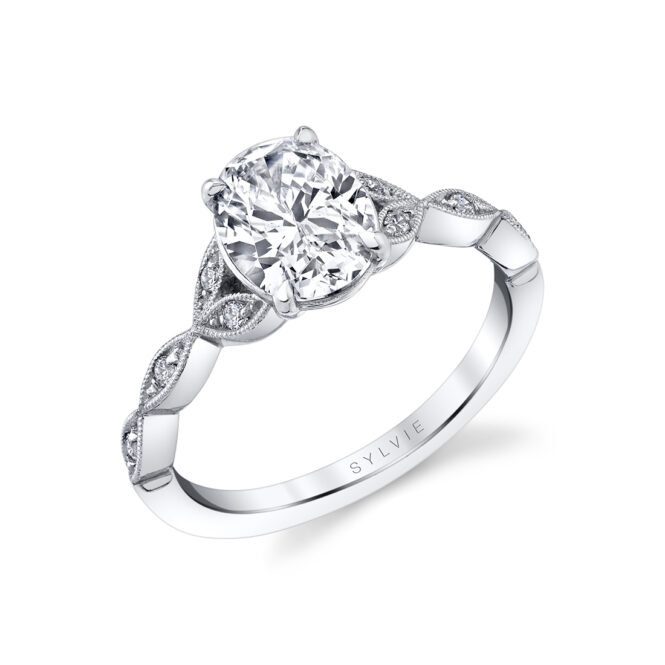 unique vintage inspired oval engagement ring in white gold