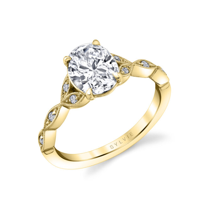 unique vintage inspired oval engagement ring in yellow gold