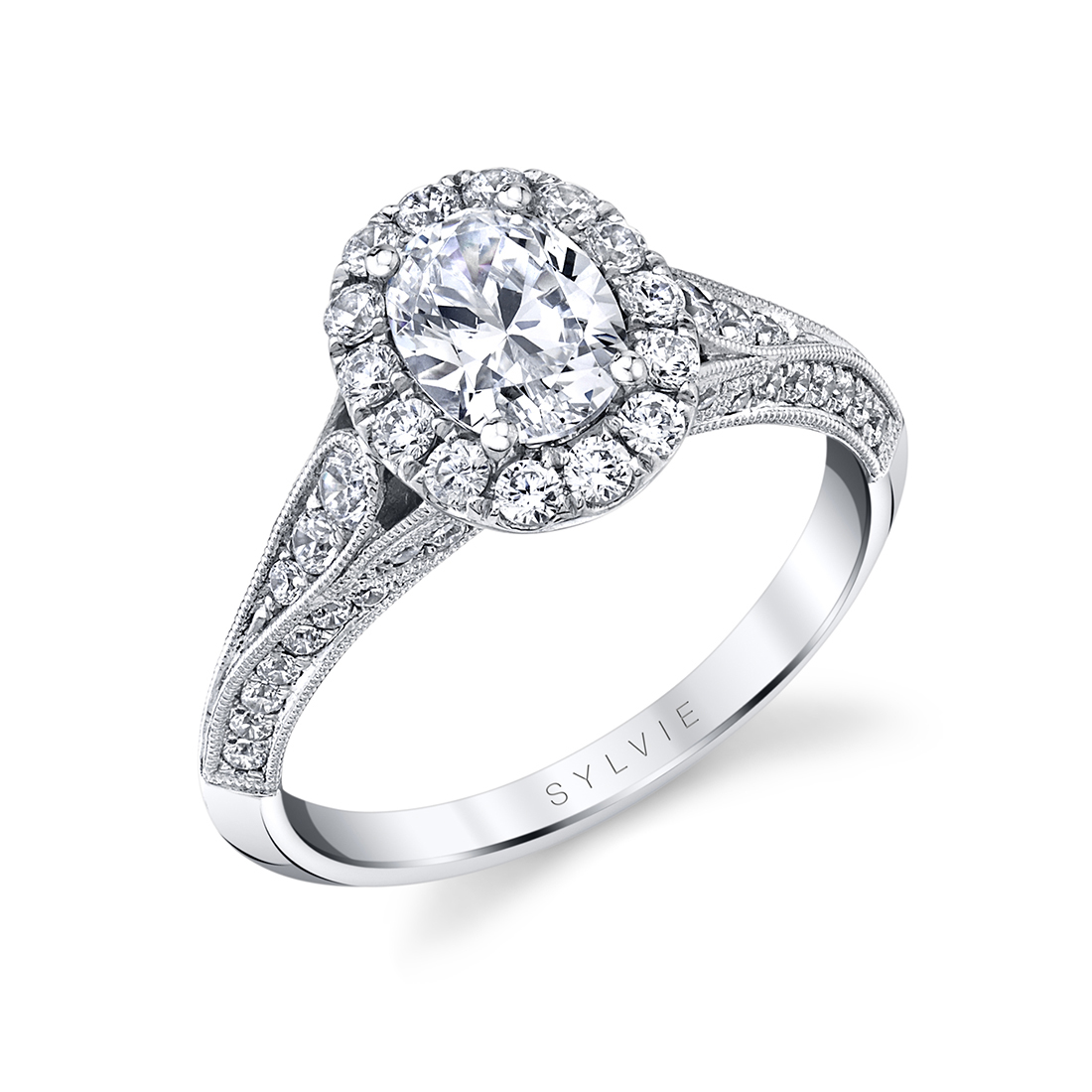 vintage inspired oval engagement ring