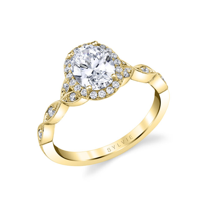 unique oval engagement ring in yellow gold