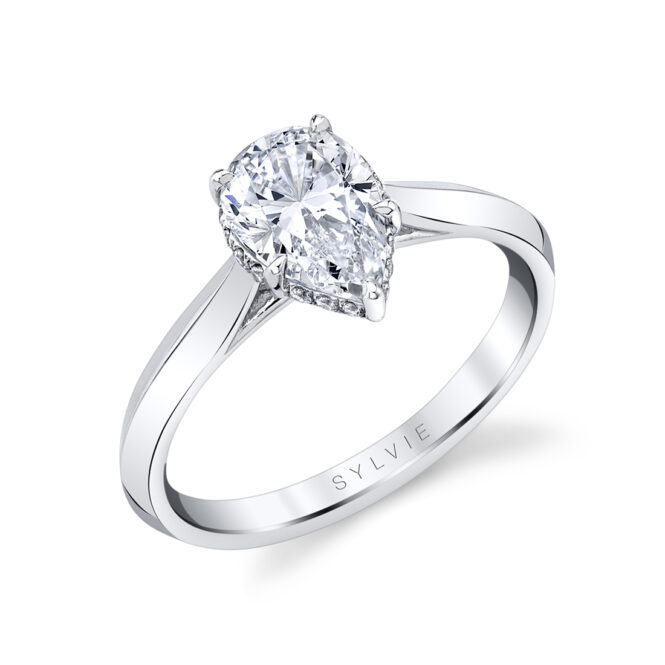 pear shaped hidden halo engagement ring