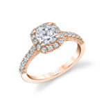 cushion cut engagement ring with halo in rose gold