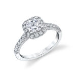 cushion cut engagement ring with halo in white gold