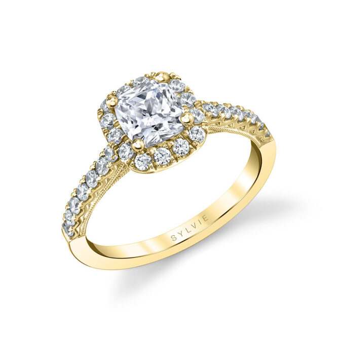 cushion cut engagement ring with halo in yellow gold