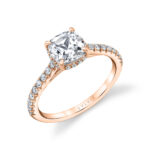 cushion cut hidden halo engagement ring in rose gold