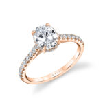oval engagement ring with hidden halo in rose gold