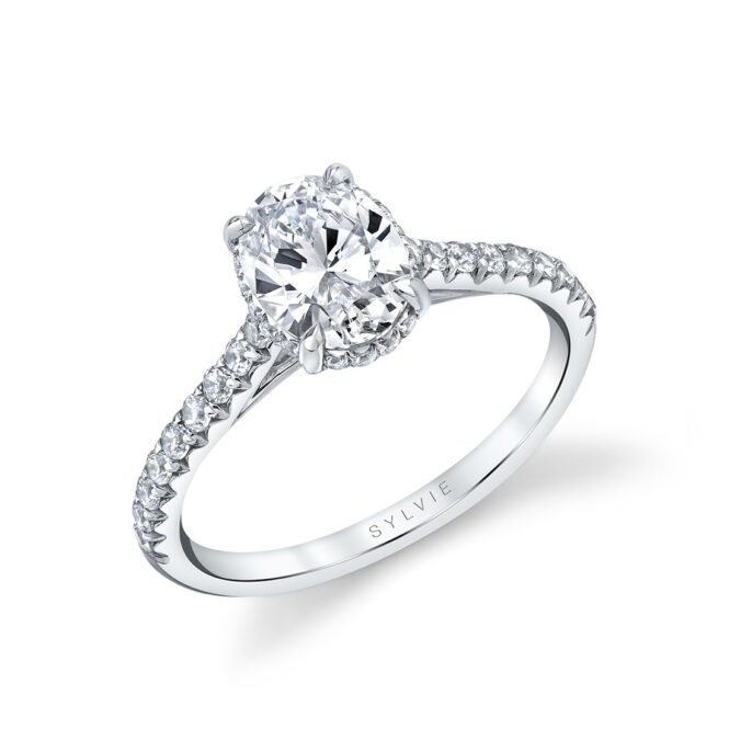 oval engagement ring with hidden halo in white gold