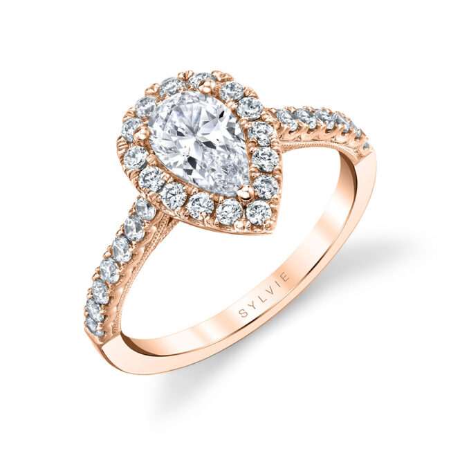 pear shaped halo engagement ring in rose gold