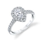 pear shaped halo engagement ring in white gold