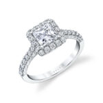 princess cut halo engagement ring in white gold