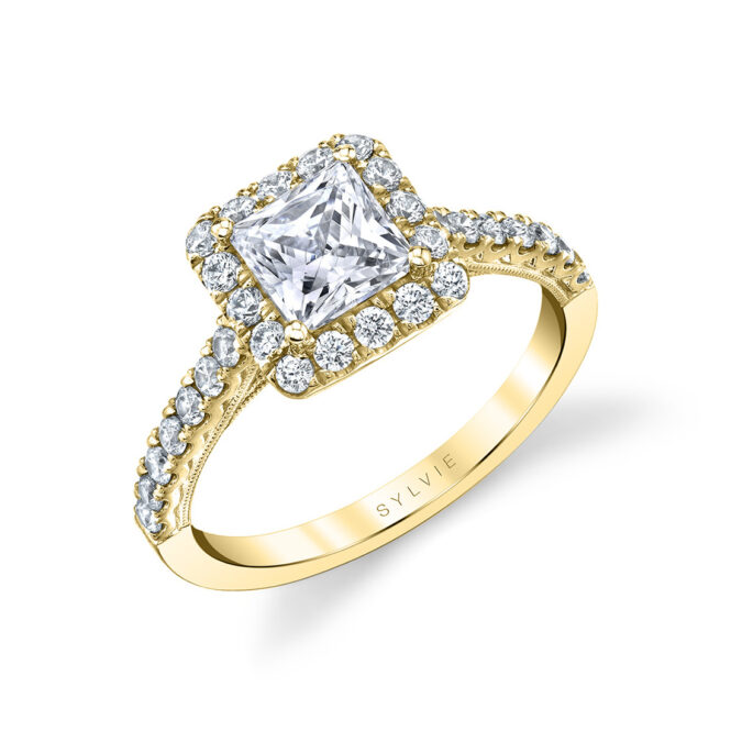 princess cut halo engagement ring in yellow gold
