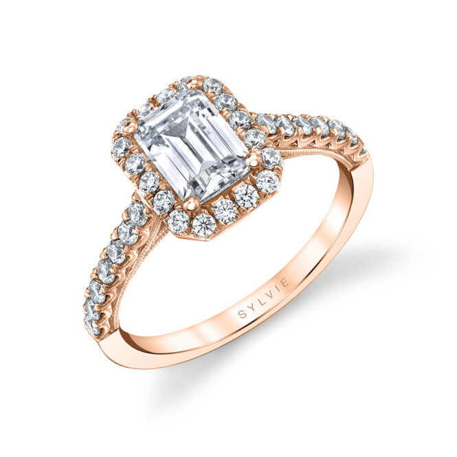 unique emerald cut halo engagement ring in rose gold