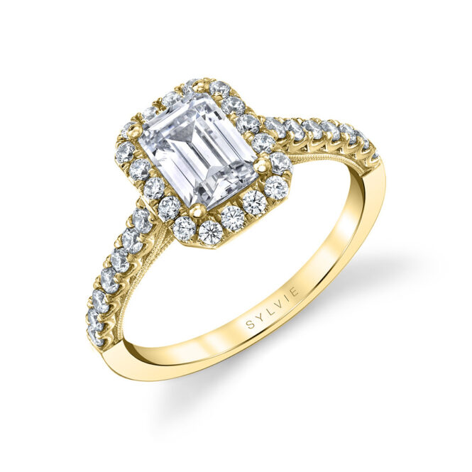unique emerald cut halo engagement ring in yellow gold
