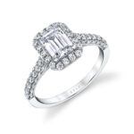 unique emerald cut halo engagement ring in white gold