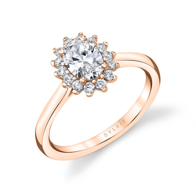 unique oval engagement ring in rose gold