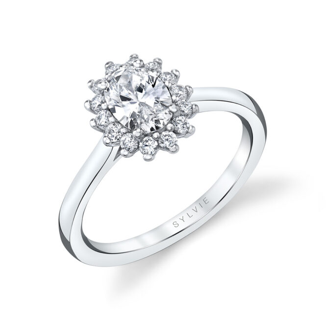 unique oval engagement ring in white gold