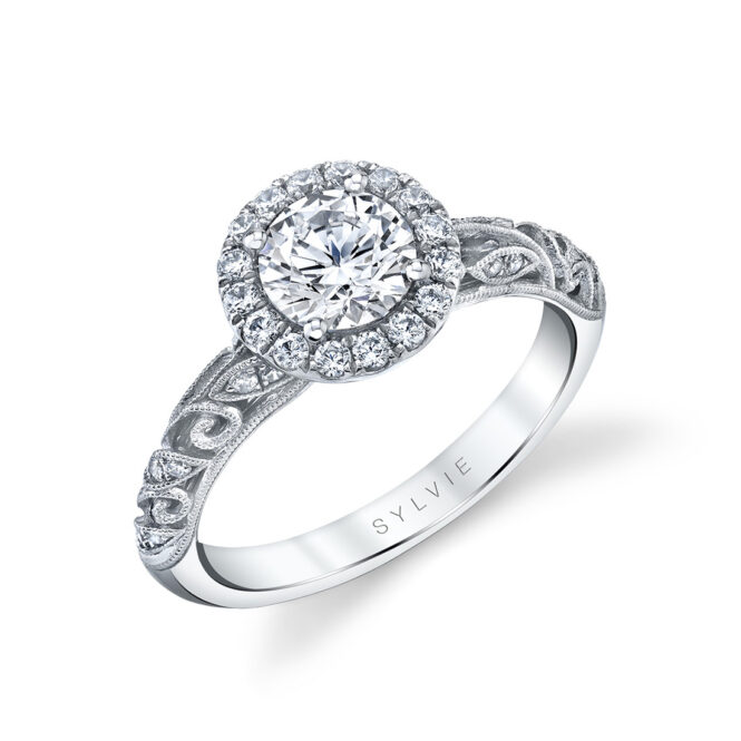 vintage halo engagement ring in white gold