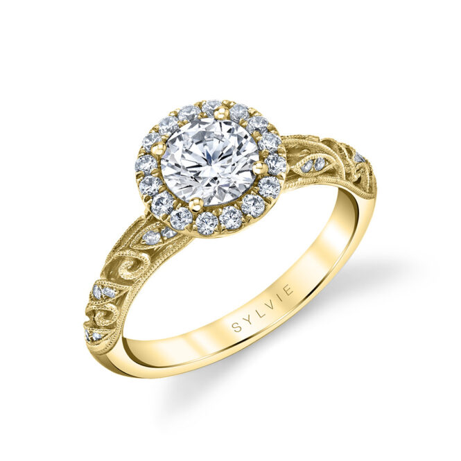 vintage halo engagement ring in yellow gold