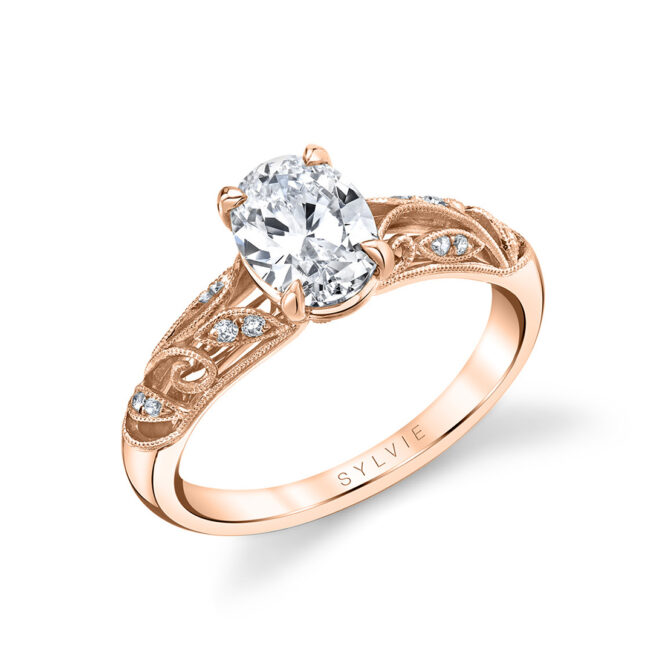 vintage inspired oval engagement ring in rose gold