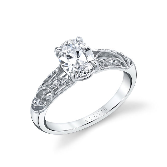 vintage inspired oval engagement ring in white gold