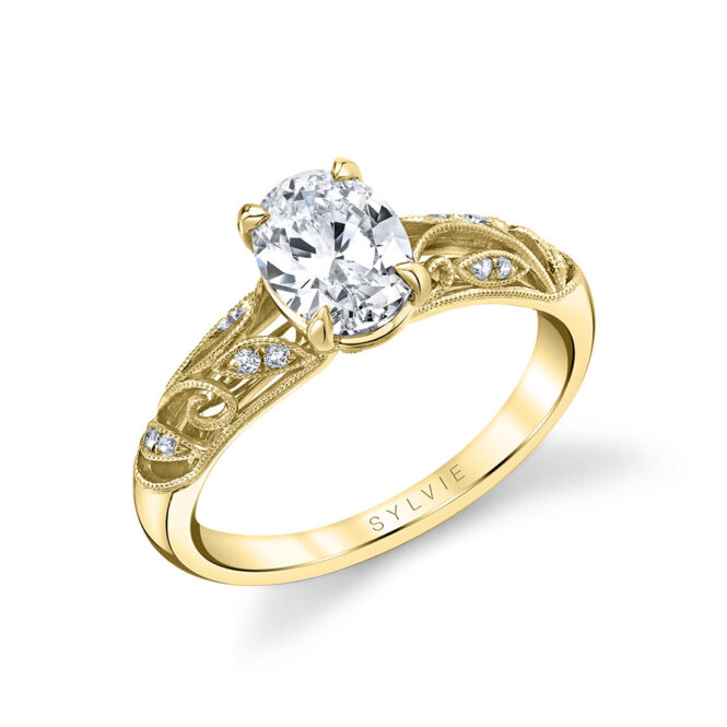 vintage inspired oval engagement ring in yellow gold