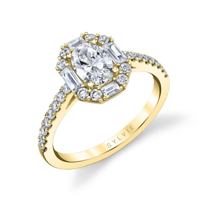 vintage oval engagement ring in yellow gold