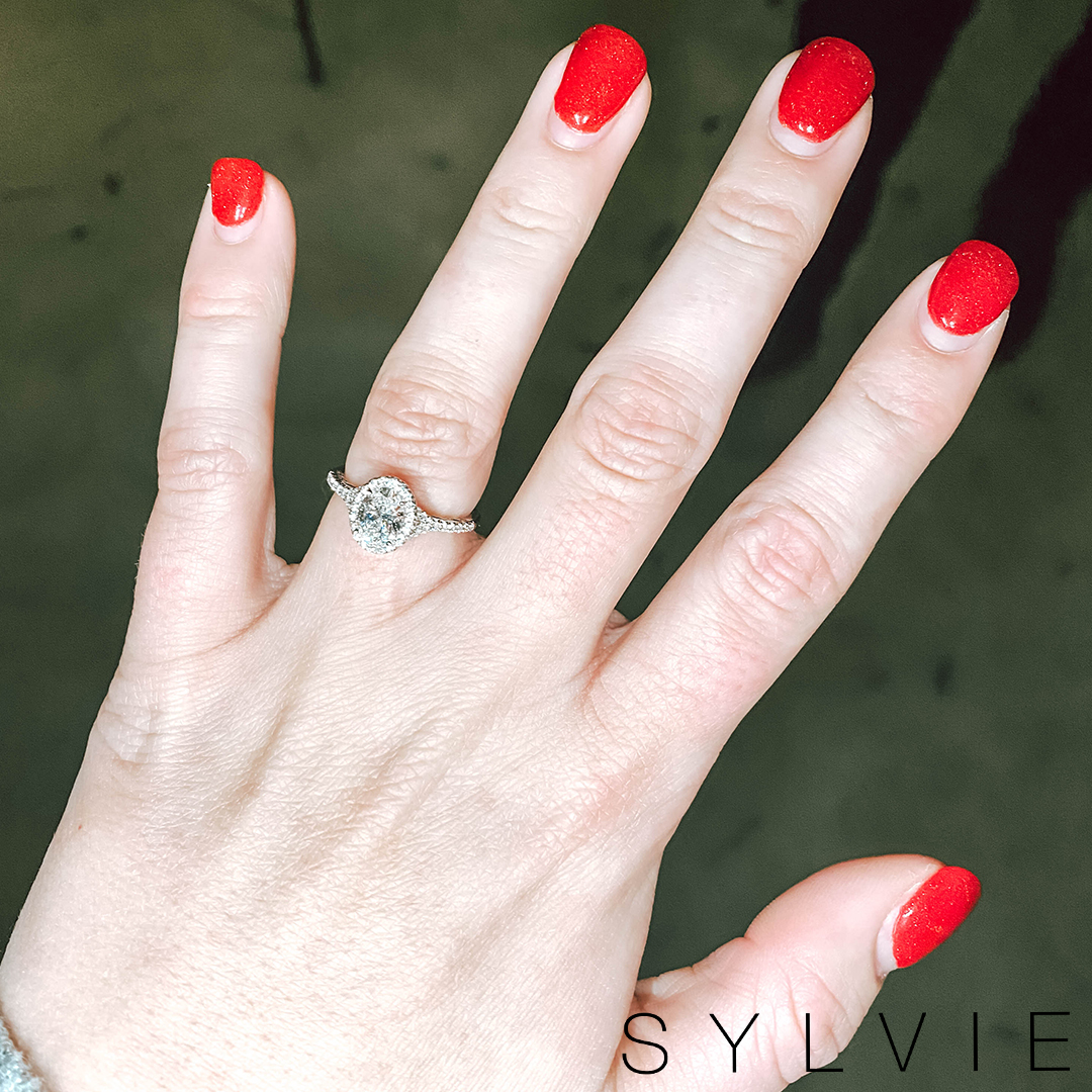 sylvie bride teanna showing off her ring