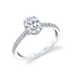 oval engagement ring with hidden halo - Anastasia